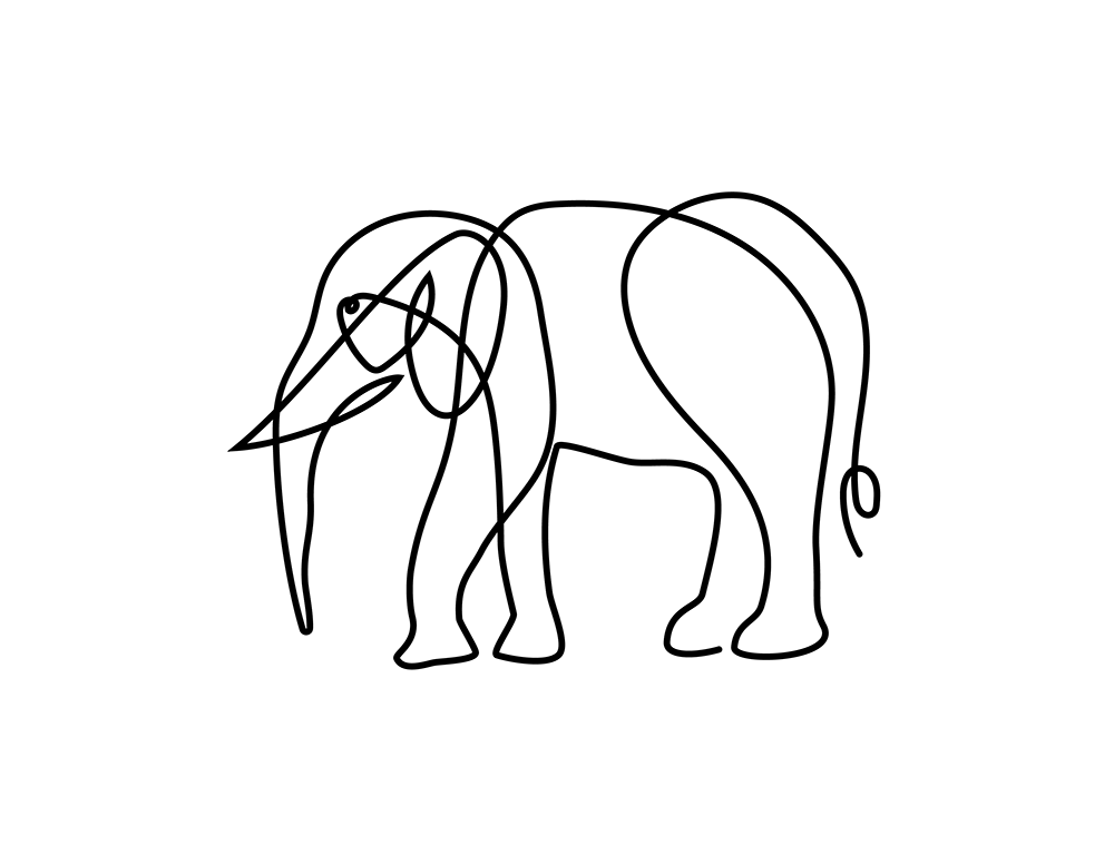 Elefant Oneline Illustration